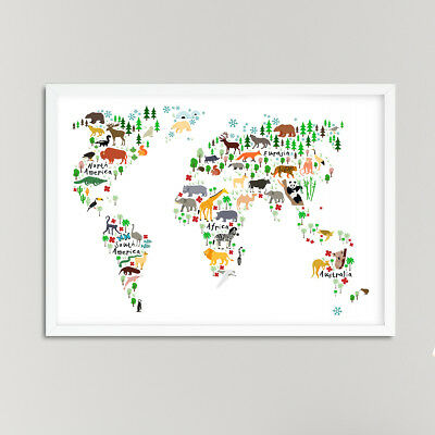 Animals World Map Nursery Print / Picture, For Boys / Girls Bedroom White