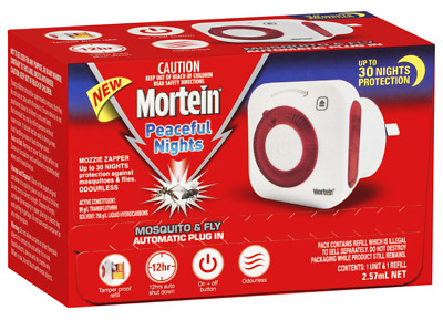 MORTEIN Peaceful Nights MOSQUITO and FLY ZAPPER Plug In Auto system FREE POST!!