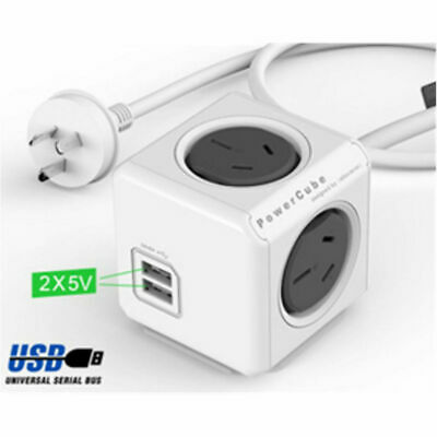 Allocacoc PowerCube Extended 4 Outlets and 2 USB Ports 1.5M - One Cube Grey