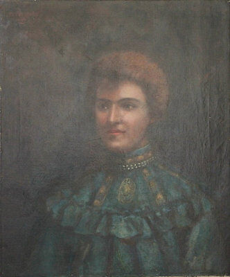 Antique French Oil Portrait Painting of a Woman Signed by Artist, dated 1906