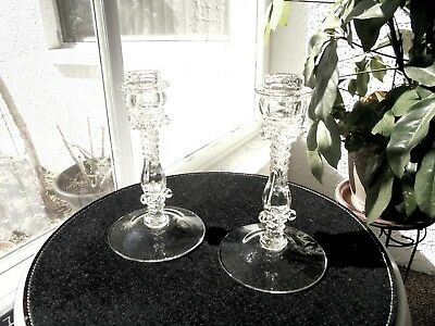 "Set of 2 Cambridge #312 Pattern 7 1/2"" Tall Crystal Candlestick Holders"