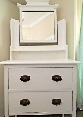 Beautiful Antique Edwardian Dressing Table/Chest of Drawers With Mirror. White