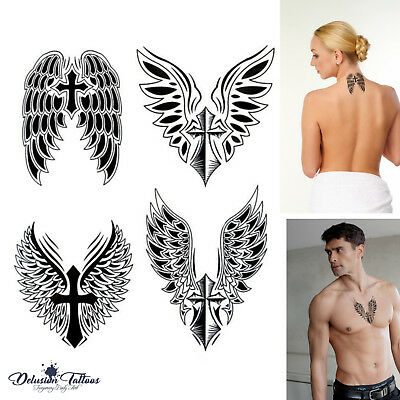 Angel Wings Cross Temporary Tattoo, Set Of 4, Crucifix, Body Art, Mens, Womens