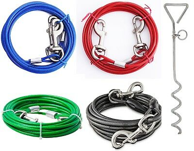 Strong Pet Dogs Tie-Out Cable Lead & Metal-Stake Steel Wire Chain Leash Durable