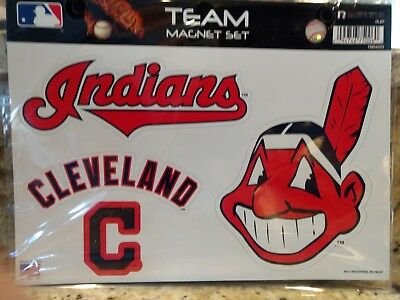 Cleveland Indians 4 Pack Of Die-Cut Vinyl Magnets Chief Wahoo High Quality Mlb
