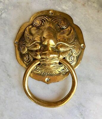 Vintage Brass Door Knocker Head Figure Wind Blowing 9u201d Long X 6 5/8