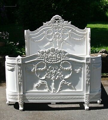 Napoleon 5' King Size French Style Mahogany Bed Ant White Rococo Brand New