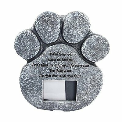 Cadillaps Paw Print Pet Memorial Stone Puppy Tombstone Dog or Cat Grave with Pho