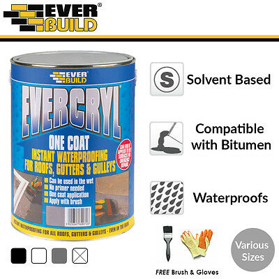 Evercryl | Fibre Reinforced Roof Coat | Roof Paint Sealant | FREE Brush & Gloves