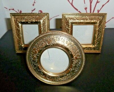 SET OF THREE ENGRAVED BRASS MINIATURE PHOTO FRAMES ~ ANTIQUE STYLE ...