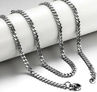 60cm 316L Stainless Steel Necklace Waterproof Silver Curb Link Chain 6mm N89
