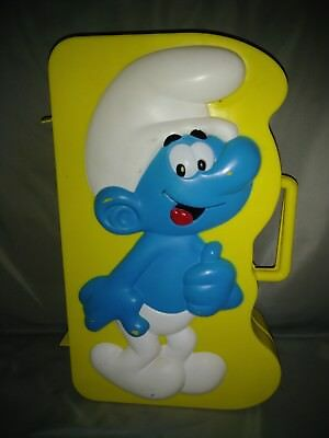 Vintage 1983 Wallace Berrie Smurf PVC Figures Carrying Case Yellow~USED~