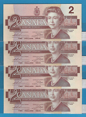 1986 4 Consecutive Bank Of Canada $2 BBX Thiessen / Crow  BC-55bA  UNC