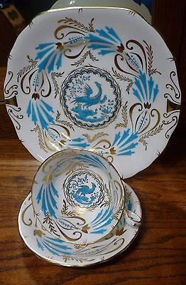 ROYAL CHELSEA Turquoise BIRD 3800a SQUARE HANDLE CAKE Plate FREE Cup Saucer SET