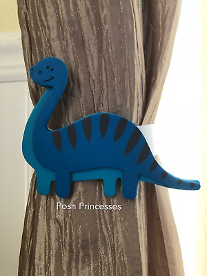 Nursery Curtain Tie Backs - 2pc Set Nursery Decor - Blue Dinosaur