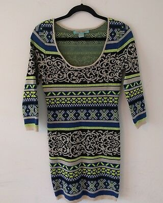 241ab003a6a Womens Flying Tomato Aztec Print Boho Sweater Dress Peasant 3 4 Sleeve Size  S