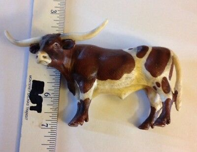 Schleich 2002 Spotted Brown Longhorn Bull Cow Pretend Play Animal Figure Toy