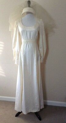 Vintage 1960s Handmade Empire Waist Long Sleeve Wedding Dress With Lace & Veil