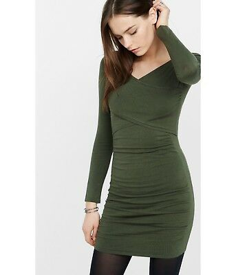 5f197790785 NWOT EXPRESS GREEN Crisscross Sweater Dress Sz Large L) -  18.00 ...