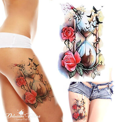 Hourglass Temporary Tattoo - Roses, Crows, Womens, Girls, Kids, Fake, Waterproof