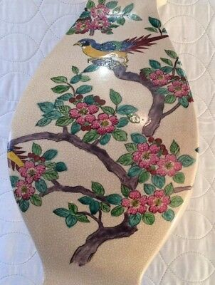 "Japanese Vase Vintage 16"" Blue Birds on Branch Pink Flowers"