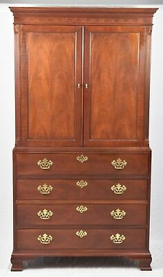 Baker Chinoiserie Chippendale  Mahogany Linen Press Armoire Williamsburg Style
