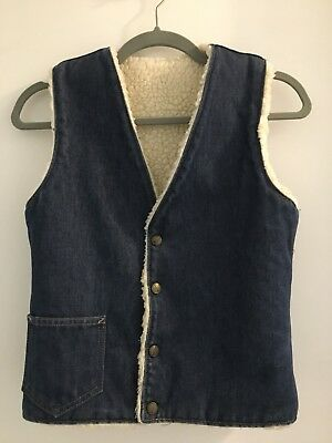 Vtg Billy the Kid Denim Faux Shearling Snap Vest Childs Size 16 or (XXS Womens)