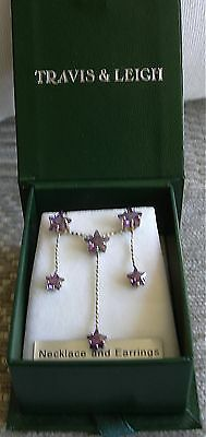 Stamped 925 Travis & Leigh Earrings and pendant , Set with Amethysts