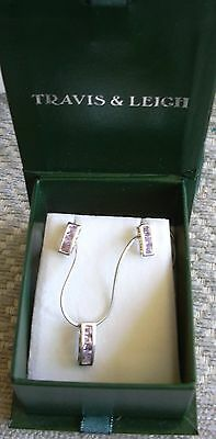 Stamped 925 Travis & Leigh  Earrings & Pendant Set , Set with Amethysts