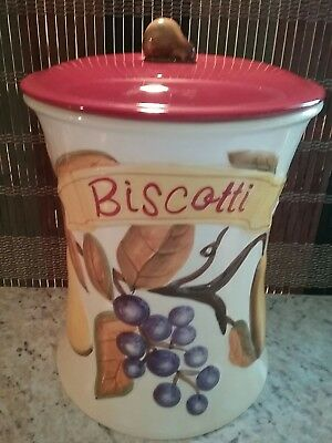 Nonni's Biscotti Cookie Jar Cream with Fall Leaves Grapes, Pears & Cherries
