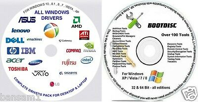 AUTOMATIC Drivers & Windows 8/7/XP Boot Repair Recovery Restore CD NEW