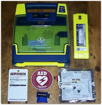 Cardiac Science Powerheart Later Model AED w/ 75% Battery, 2020 Pads Mint Cond