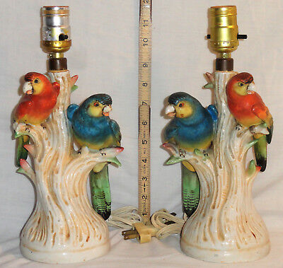 Rare Pair Vintage Art Deco Or MCM Ceramic Hand-Painted Italian Parrot Bird Lamps