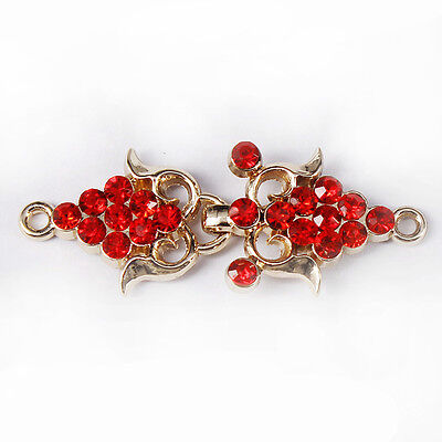5set Red Crystal Closure Connectors Clasps Button Metal Waist Hooks Eyes Clasps