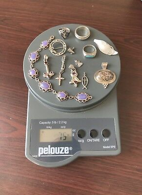 Lot of 925 Sterling Silver Jewelry Lot - Resell Wear - Rings Pendant  - 75g
