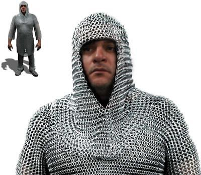SE 7004 CHAINMAIL COIF STEEL BUTTED WIRE 16 GAUGE RINGS Helmet Cover