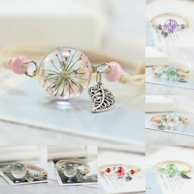 Weave Adjustable Dried Flower Bracelets Bangle For Women Gift Grass Ball