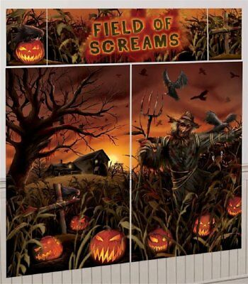 SCARECROW PUMPKIN PATCH SCENE SETTER Backdrop Party Wall Decoration Halloween