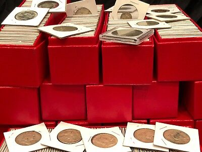 $ Vintage Old Carded Coin Lot Silver Hoard Lot Estate Sale Mix Dimes Wheat Cents