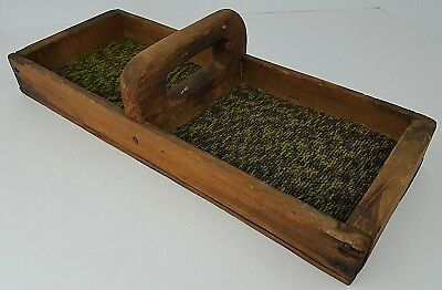 Vintage Hand Made Primitive Two Compartment Wooden Handled Carry Tray Holder Box