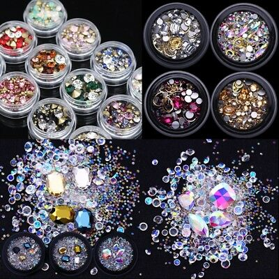 Nail Art Sharp Flat Back Crystal Rhinestones Stones 3D Nails Decoration Manicure