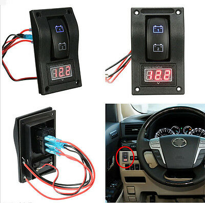 DC12V Car SUV Truck Marine Dual LED Battery Test Switch Panel Voltage Meter