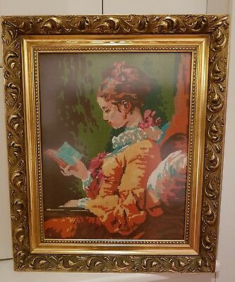 Completed Tapestry Gold Gilt Frame Young Girl Reading by Jean-Honoré Fragonard