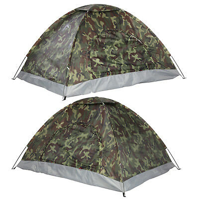 2 Person Camo Camping Waterproof Folding Tent Hiking Backpack Fishing Outdoor