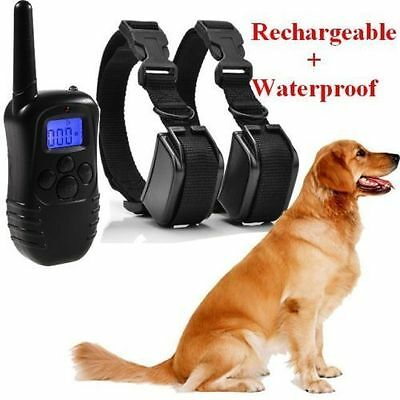 Electric Trainer Rainproof Pet Shock Training Collar For 2 Dogs With Remote
