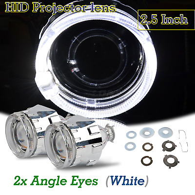 2X Mini 2.5Inch Bi Xenon Projector Lens HID Car Projectors with White Angel Eye