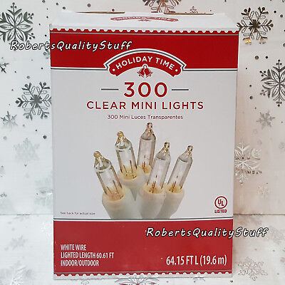 HOLIDAY TIME 300 Clear Mini Lights White Wire Christmas, Wedding ...