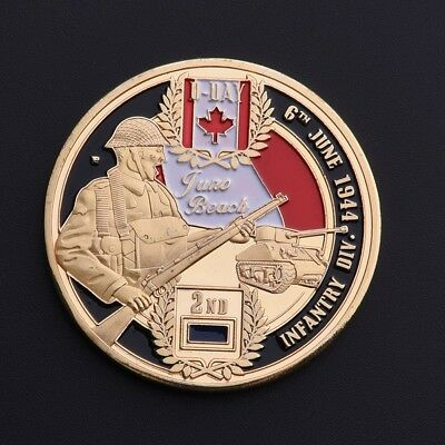 JUNO BEACH D-DAY 1944.6.6 World War II Military Canada INFANT Commemorative Coin