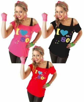 Ladies 'I Love 80s' Top T-Shirt Womens Fancy Dress Outfit Costume Neon Festival