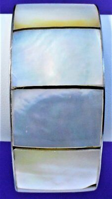 Small Vintage Nine Mother of Pearl Panels Silver Tone Solid Cuff Bracelet